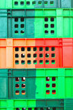 Colorful plastic - stacked packing containers. Royalty Free Stock Photos