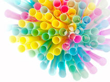 Colorful plastic straws royalty free stock images