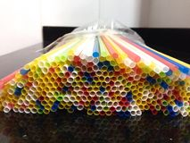 Colorful plastic straws Royalty Free Stock Photo