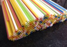 Colorful plastic straws Stock Image