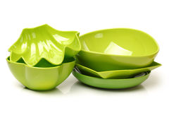 Colorful plastic tableware Stock Photo