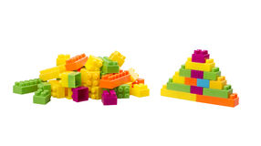 Colorful plastic toy blocks Stock Photo