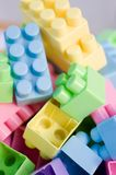 Colorful plastic toy bricks Royalty Free Stock Images