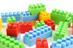 Colorful plastic toy bricks Royalty Free Stock Photos
