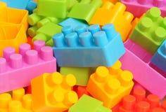 Plastic toy building blocks. Colorful plastic toy building blocks royalty free stock photos