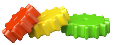Colorful plastic toy cogwheel construction Royalty Free Stock Images