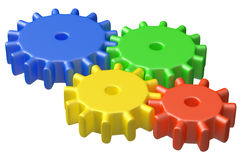 Colorful plastic toy cogwheel construction Royalty Free Stock Photo