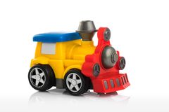 Colorful plastic toy train isolated on white background.  Stock Photo