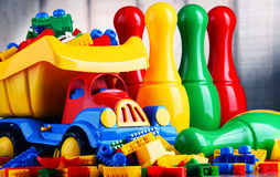 Colorful plastic toys in children& x27;s room Royalty Free Stock Image