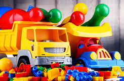 Colorful plastic toys in children& x27;s room Stock Image