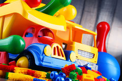 Colorful plastic toys in children& x27;s room Stock Images