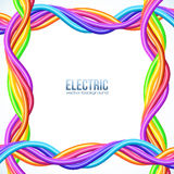Colorful plastic twisted cables vector frame Royalty Free Stock Image