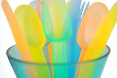 Colorful Plastic Utensils Royalty Free Stock Image