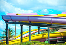 Colorful plastic water-slides. Royalty Free Stock Photo