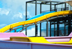 Colorful plastic water-slides. Royalty Free Stock Image