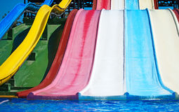Colorful plastic water-slides. Royalty Free Stock Images
