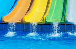 Colorful plastic water-slides. Stock Images