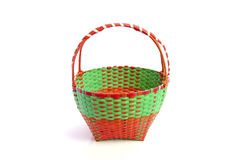 Colorful plastic weave basket isolated on white background Royalty Free Stock Image
