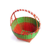 Colorful plastic weave basket isolated on white background Royalty Free Stock Photography