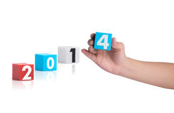 Colorful plastic of year numbers on a white background Stock Photo
