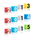 Colorful plastic of year numbers on a white background Royalty Free Stock Images