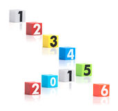 Colorful plastic of year numbers on a white background Royalty Free Stock Image