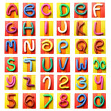 Colorful plasticine alphabet. Isolated over white background Royalty Free Stock Photos