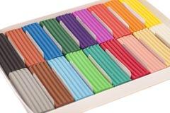 Colorful plasticine in box Stock Photography