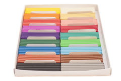 Colorful plasticine in box Royalty Free Stock Photos