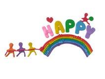 Colorful plasticine clay, children dragging the rainbow dough stock photo
