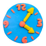 Colorful plasticine clay clock Royalty Free Stock Photos