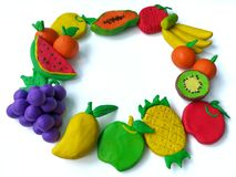 Colorful plasticine clay, delicious variety of fruits dough, beautiful handmade Stock Photo