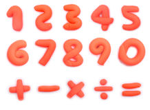 Colorful plasticine clay number and mathematics Stock Photography