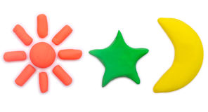 Colorful plasticine clay sun star and moon icon Stock Photography