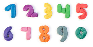 Colorful plasticine digits. Isolated on a white background Royalty Free Stock Photography