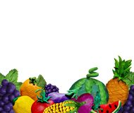 Colorful plasticine handmade 3D fruit  and vegetables SEAMLESS BORDER with text place. Isolated royalty free stock photography