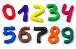 Colorful plasticine numbers set isolated on a white background. Royalty Free Stock Photography