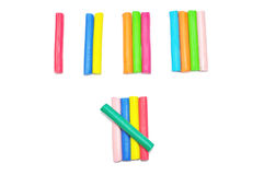Colorful plasticine stick  on white background Stock Photography