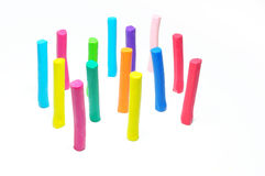 Colorful plasticine stick  on white background Stock Photos