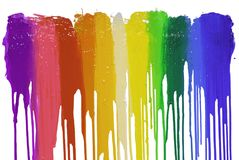 Colorful of plastisol ink are dripping by in opposite directions. With clipping path Royalty Free Stock Photo