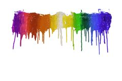 Colorful of plastisol ink are dripping by in opposite directions. With clipping path Stock Image
