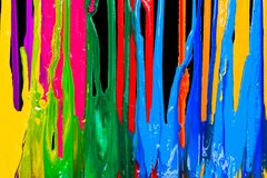 Colorful of plastisol ink are dripping by in opposite directions. With clipping path Royalty Free Stock Image