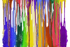 Colorful of plastisol ink are dripping by in opposite directions. With clipping path Royalty Free Stock Photos