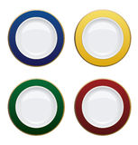 Colorful plate with gold rims on white background. Vector illust Royalty Free Stock Photography