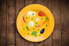 Colorful plate with hand drawn icons, symbols, vegetables and fr. Uits on grungy background Stock Photography