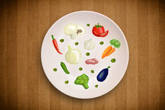 Colorful plate with hand drawn icons, symbols, vegetables and fr Royalty Free Stock Photos