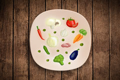 Colorful plate with hand drawn icons, symbols, vegetables and fr. Uits on grungy background Royalty Free Stock Photography