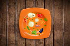 Colorful plate with hand drawn icons, symbols, vegetables and fr Stock Images
