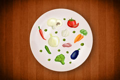 Colorful plate with hand drawn icons, symbols, vegetables and fr Stock Photography