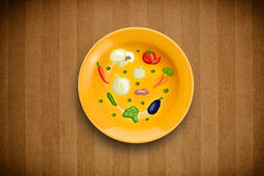 Colorful plate with hand drawn icons, symbols, vegetables and fr Royalty Free Stock Images
